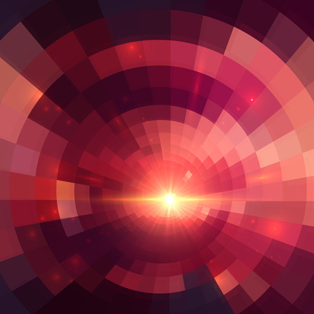 concentric circles: Abstract red shining circle tunnel lined background Illustration