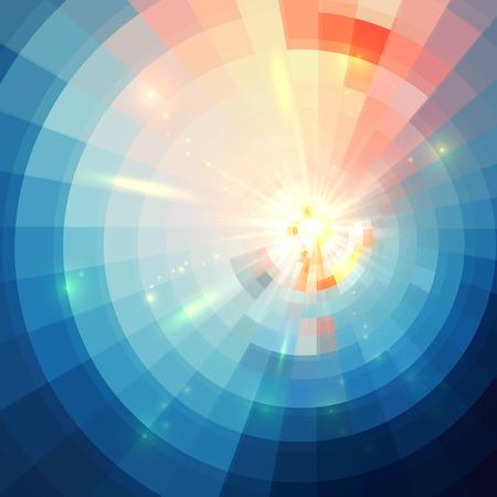 Blauwe abstracte cirkel betegelde vector tunnel achtergrond Vector Illustratie