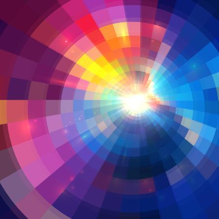 musica electronica: Fondo colorido brillante círculo túnel abstracta forradas Vectores