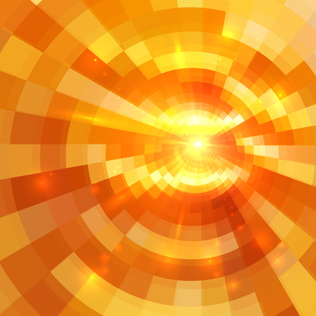 tunnel light: Abstract orange shining circle tunnel lined background Illustration