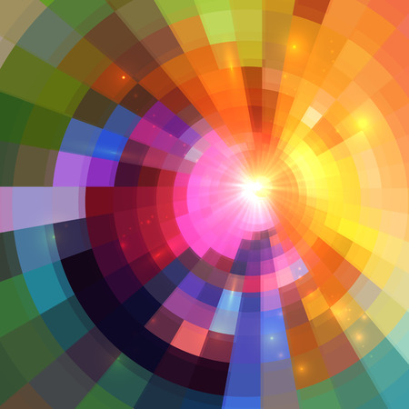 cosmic rays: Abstract colorful shining circle tunnel lined background