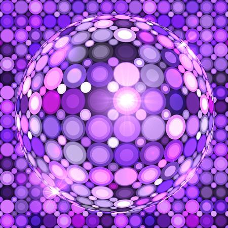 Mirror Ball: Violet shining vector disco ball abstract background
