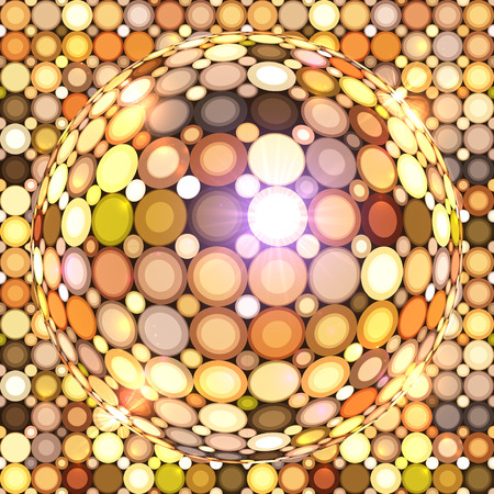 glittery: Shining golden vector disco ball abstract background