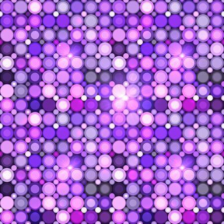 disco party: Abstract violet circles mosaic vector seamless pattern