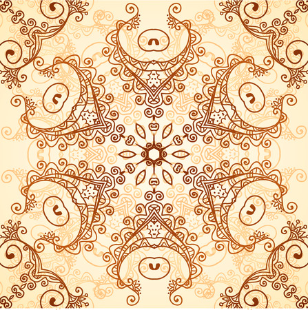 Ornate vintage vector seamless pattern in mehndi style Vector