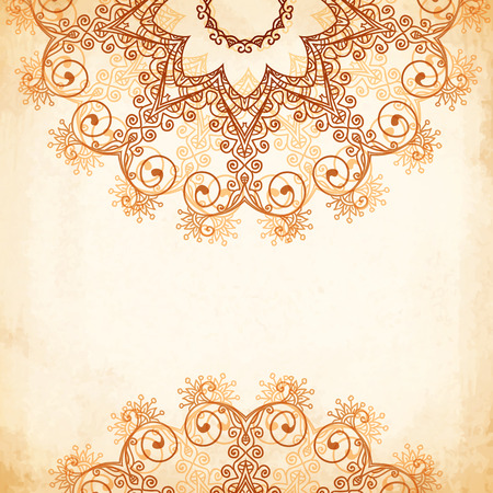 outline wedding: Ornate vintage circle vector seamless pattern in mehndi style