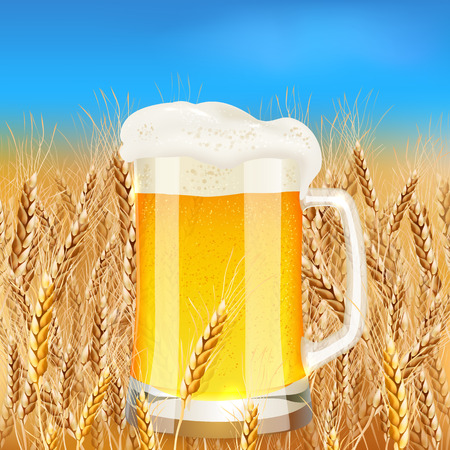 Light beer mug on sunny summer field, vector illustration Vector