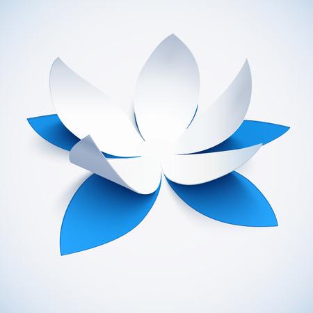 青の現実的なカットアウト紙ベクトルの蓮の花