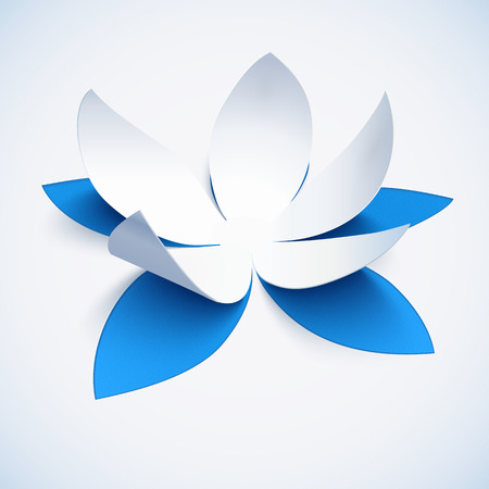 3d paper art: Blue realistic cutout paper vector lotus flower Illustration