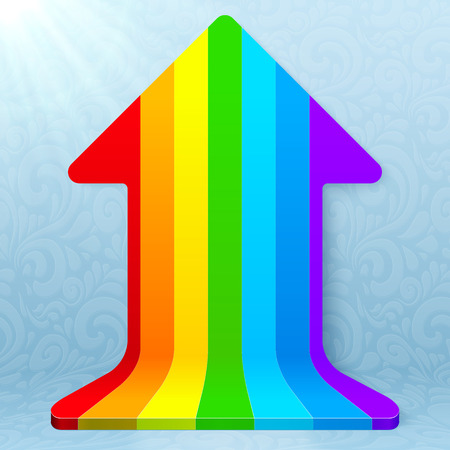 going up: Rainbow stripes realistic plastic vector up arrow icon Illustration