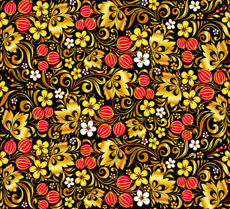 hohloma: Gold and red colors vector seamless pattern in hohloma style