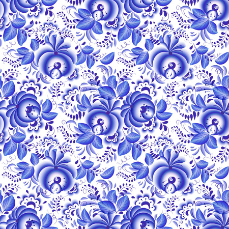 Ornate blue and white floral vector seamless pattern Vector