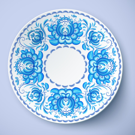 gzhel: White vector plate with russian ornament in gzhel style