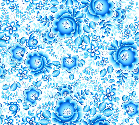 Blue floral textile vector seamless pattern in Russian gzhel style