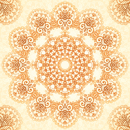 wedding backdrop: Ornate vintage circle vector seamless pattern in mehndi style