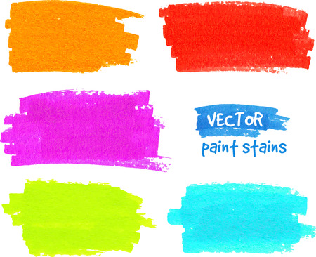 Bright rainbow colors paintbrush realistic vector strokes Vector