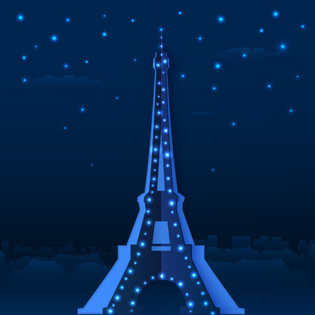 Blue cutout paper night Eiffel tower, vector illustration Vector