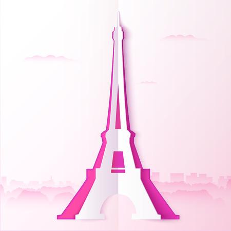 eifel: Pink cutout paper vector tour Eiffel