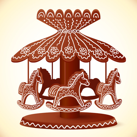 gingerbread cake: Christmas sweets toy horses decorated chocolate carousel
