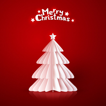 Origami paper vector Christmas tree on dark red background Vector
