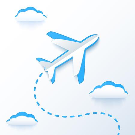 Blauw papier vector vliegende vliegtuig in de wolken
