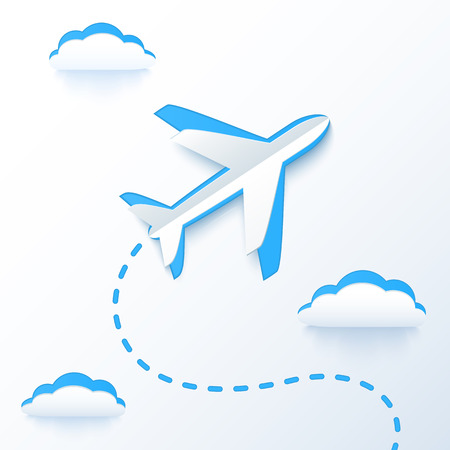 Blue paper vector flying plane in clouds