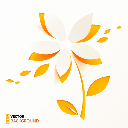 Orange paper flower vector greeting card template