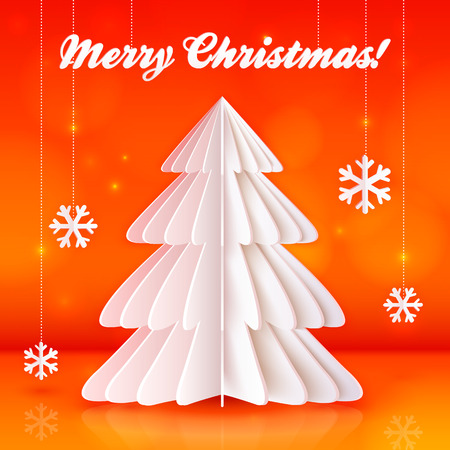 Origami paper vector Christmas tree on orange background Vector