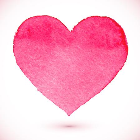 수채화가 디자인에 핑크 하트, 벡터 요소를 그린