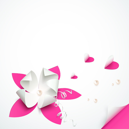 Pink cutout paper flowers vector greeting card template Vector