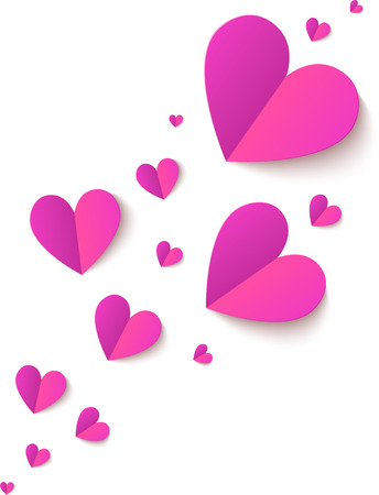 Pink cutout paper folded vector realistic hearts