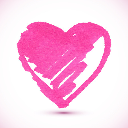 lipstick brush: Pink isolated vector marker painted textured heart Illustration