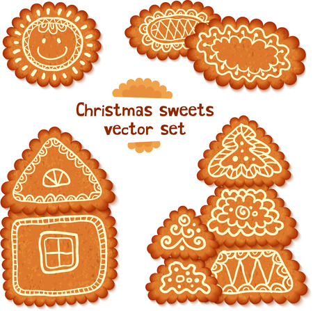 Ornate realistic Christmas sweets gingerbread vector set Vector