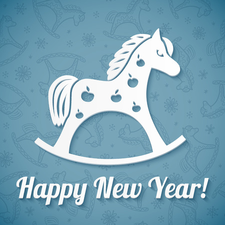 White cutout paper vector horse on blue background Vector