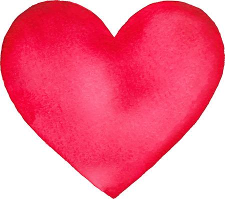 밝은 핑크 수채화는 고립 된 벡터 심장 그린 일러스트