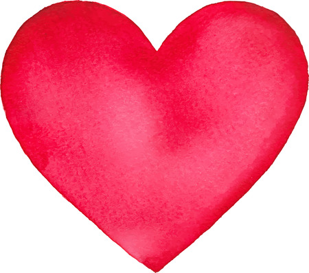 Bright pink watercolor painted isolated vector heart
