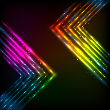 marquee sign: Shining neon rainbow arrows abstract vector background Illustration