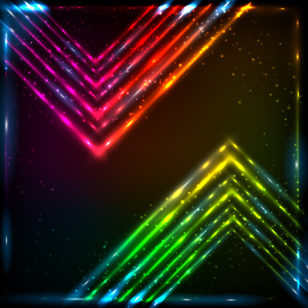 Shining neon rainbow arrows abstract vector background Vector