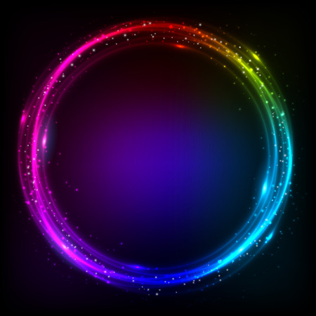 Shining rainbow colors circles cosmic vector background Vector