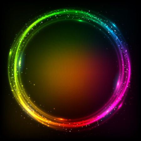 Shining lights rainbow colors vector neon frame