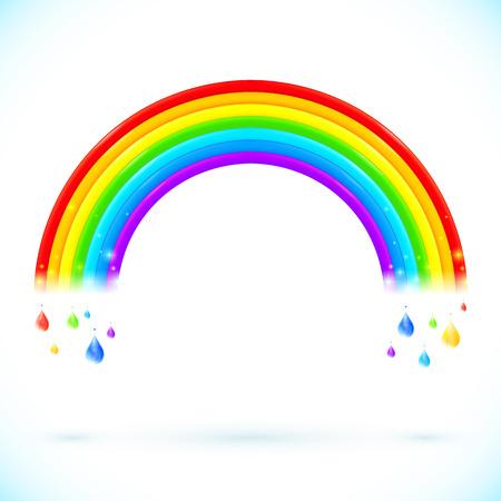 arcoiris caricatura: Bright arco iris del vector aislados con gotas en estilo de dibujos animados