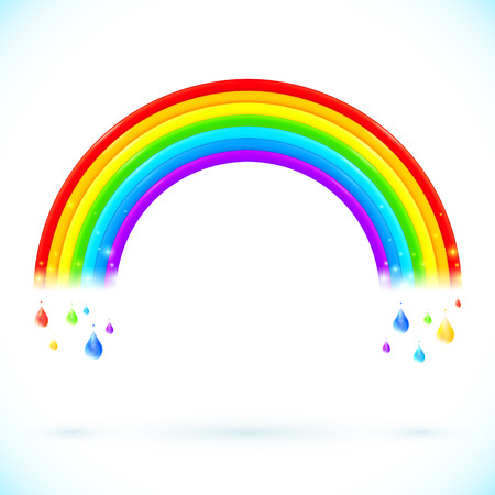 rainbow clouds: Bright isolated vector rainbows with drops in cartoon style