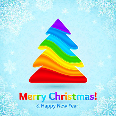 Rainbow colors stripes vector plastic Christmas tree on blue ornate background