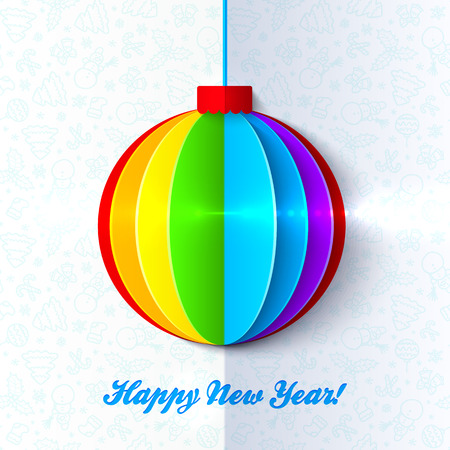 Rainbow shining colorful Christmas ball light greeting card Vector