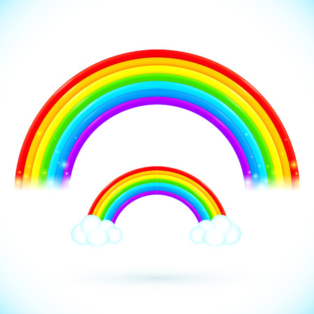 cartoon rainbow: Bright arco iris del vector aislados con las nubes en el estilo de dibujos animados
