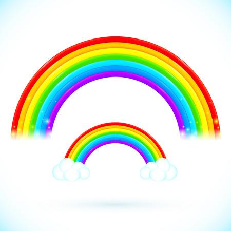 cartoon rainbow: Bright isolated vector rainbows with clouds in cartoon style