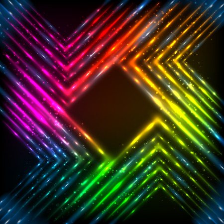 Abstract rainbow neon shining corners vector background Vector