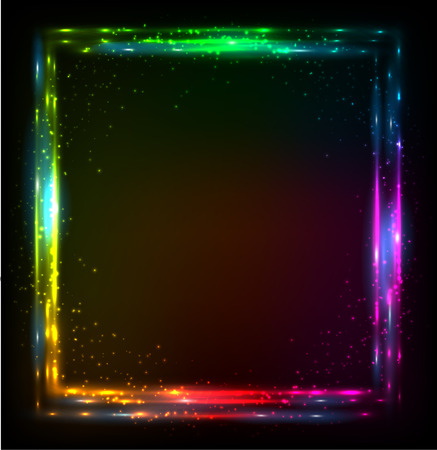 Shining lights rainbow colors vector neon frame Vector