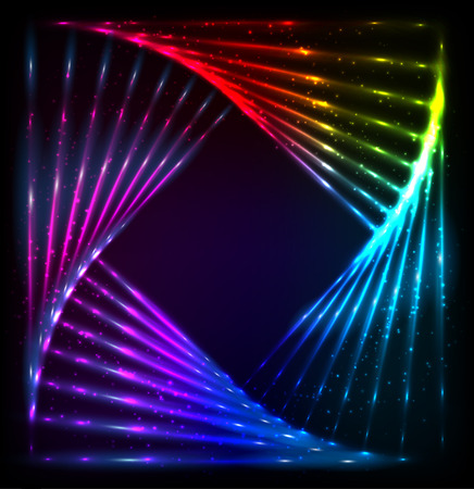 neon lights: Shining lights rainbow colors vector neon frame