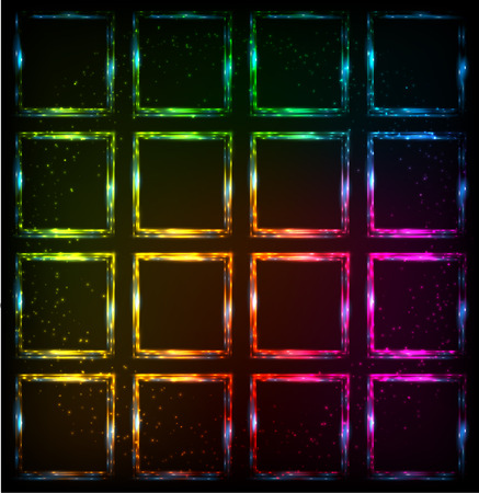 Rainbow shining neon squares abstract vector background Vector
